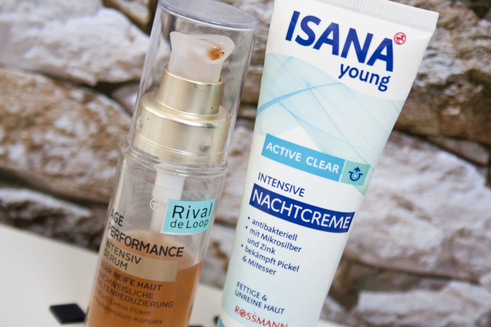 Pflegeroutine Isana Young Nachtcreme & Rival deLoop Age Performance Intensivserum